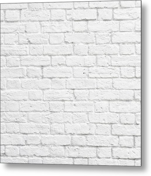 White Brick Wall Metal Print