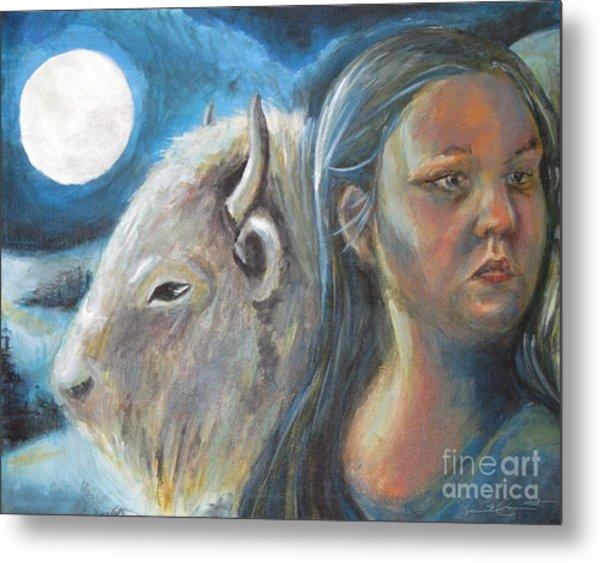 White Buffalo Portrait Metal Print