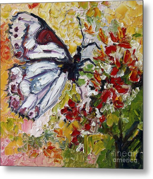 White Butterfly Impressionist Oil Painting Metal Print