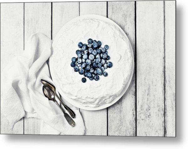 White Cake With Blueberries Metal Print by Claudia Totir