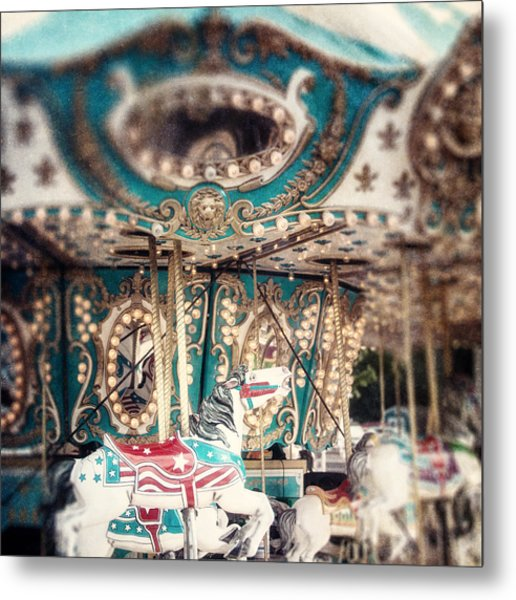 White Carousel Horse On Teal Merry Go Round Metal Print by Lisa Russo
