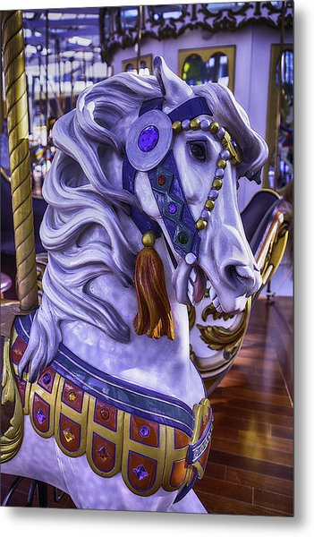 White Carrousel Horse Metal Print