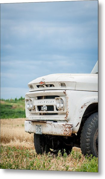 White Chevy Truch Metal Print
