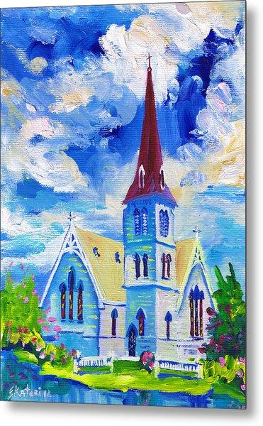 White Church Blue Sky Metal Print