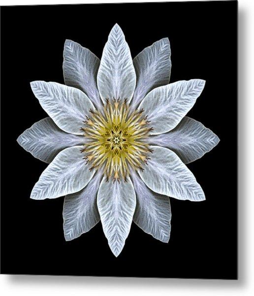 White Clematis Flower Mandala Metal Print