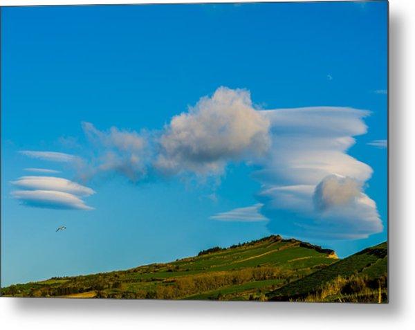 White Clouds Form Tornado Metal Print