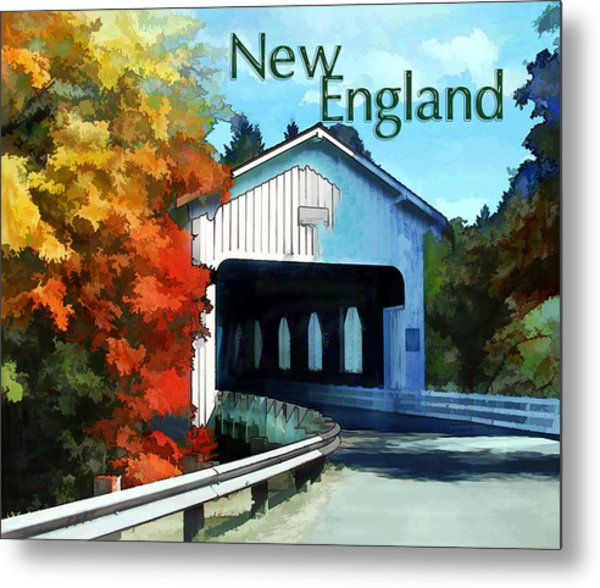 White Covered Bridge  Colorful Autumn New England Metal Print