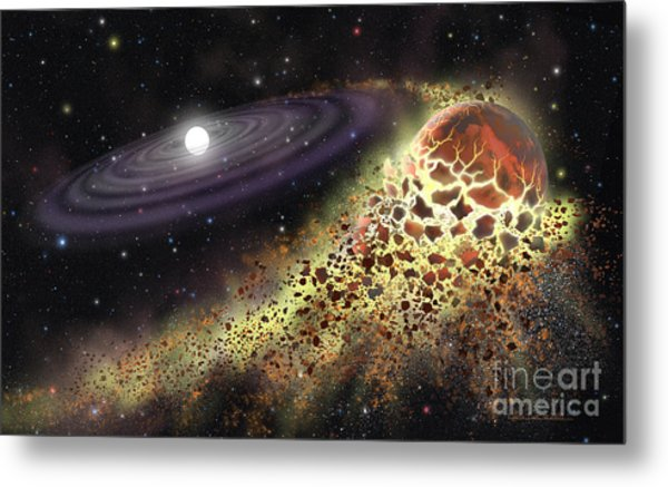White Dwarf Shredding A Planet Metal Print by Lynette Cook