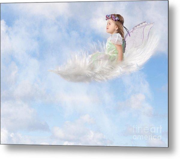 White Feather Dream Metal Print