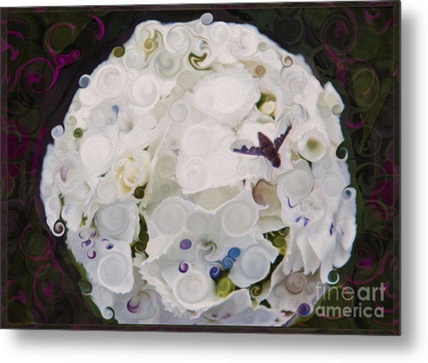 White Flower And Friendly Bee Mixed Media Painting Metal Print