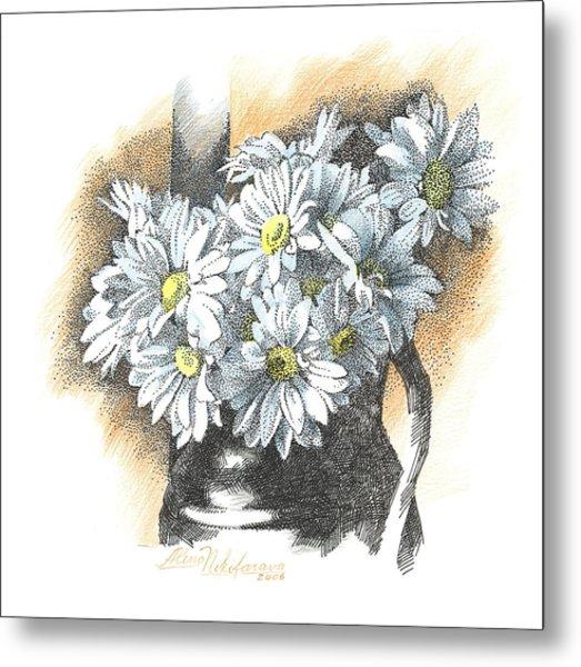 White Flowers Pointillism Drawing  Metal Print