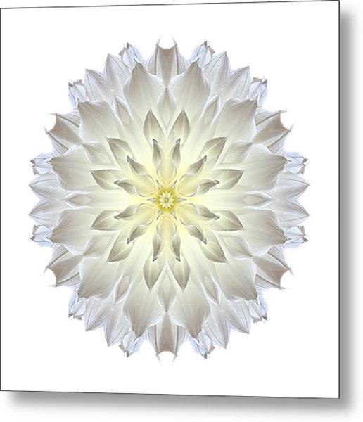 Giant White Dahlia I Flower Mandala White Metal Print
