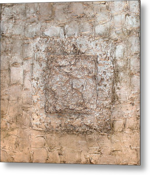 White Gold Mixed Media Triptych Part 2 Metal Print
