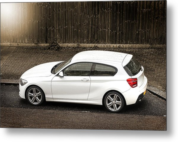White Hatchback Car Metal Print