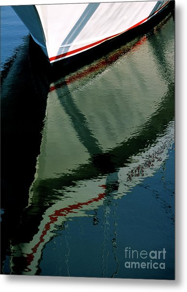 White Hull On The Water Metal Print