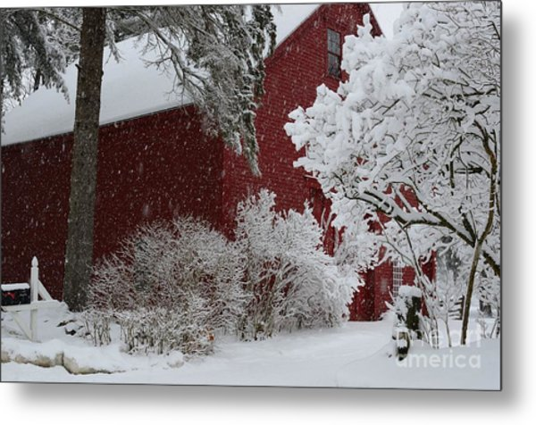 White On Red Metal Print