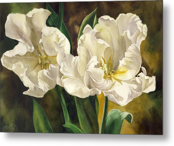 White Parrot Tulips Metal Print