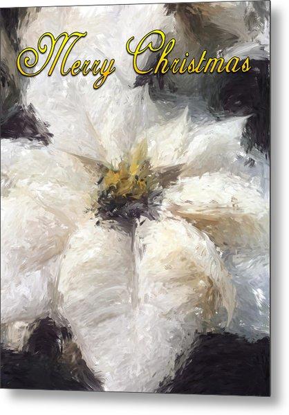 White Poinsettias Christmas Card Metal Print by Jennifer Hotai
