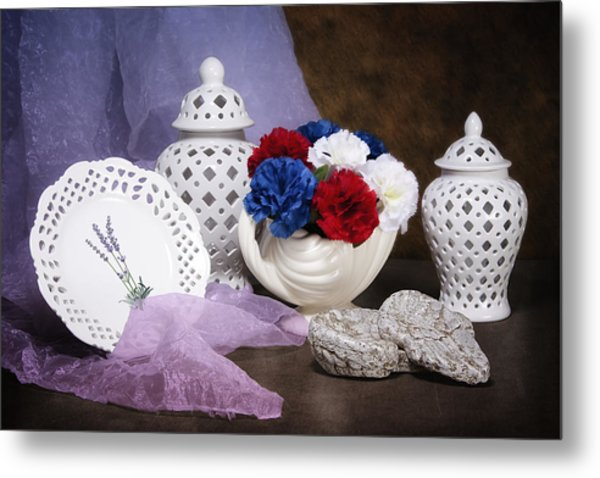 White Porcelain Still Life Metal Print