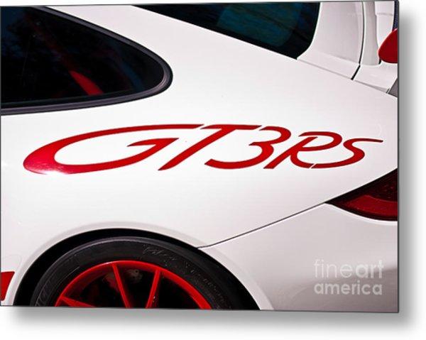 White Porsche Gt3rs - Rear Quarter Metal Print