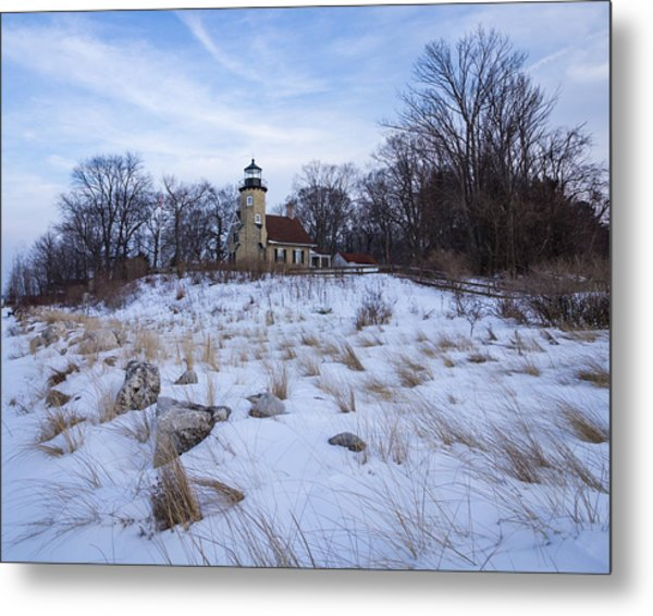 White River Lighthouse In Winter Metal Print