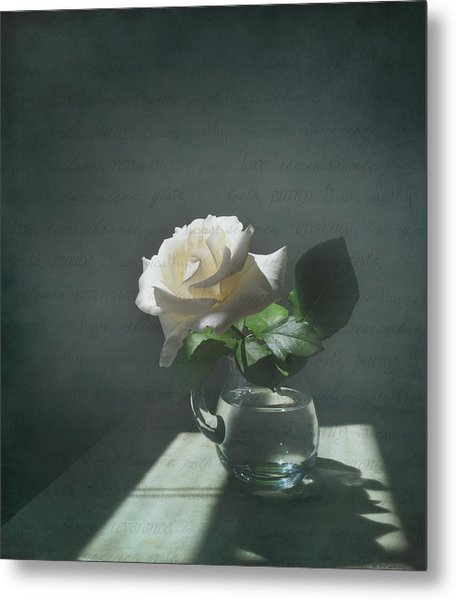 White Rose Still Life Metal Print