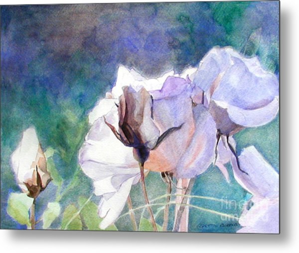 White Roses In The Shade Metal Print
