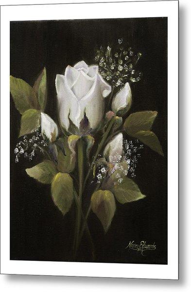 White Roses Metal Print by Nancy Edwards