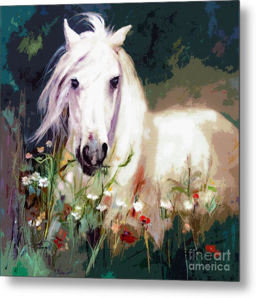 White Stallion In Wildflower Field Metal Print