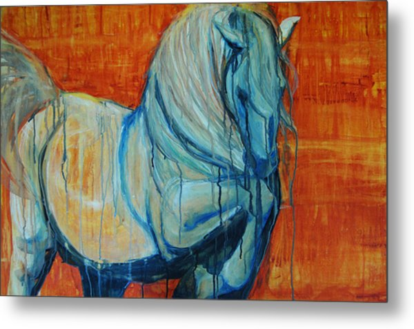 Metal Print featuring the painting White Stallion by Jani Freimann