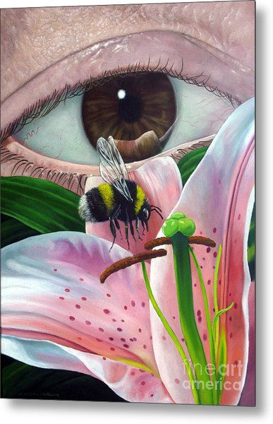 White Tailed Bumble Bee Upon Lily Flower Metal Print