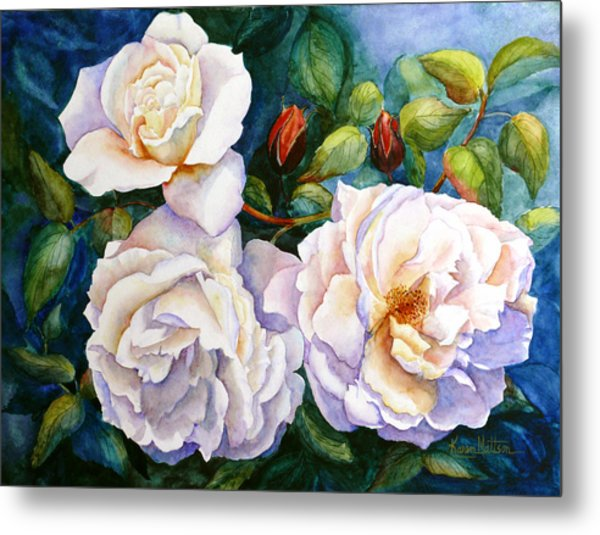 White Teas Rose Tree Metal Print