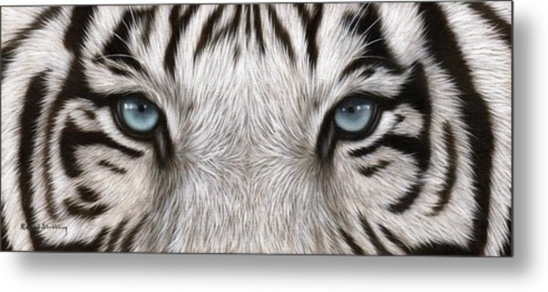 White Tiger Eyes Painting Metal Print
