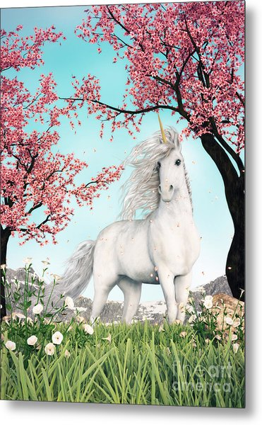 White Unicorn Amongst Cherry Trees Metal Print