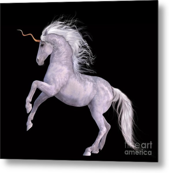 White Unicorn Black Background Half Rear Metal Print