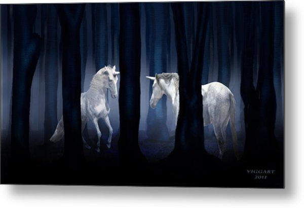 White Unicorns Metal Print