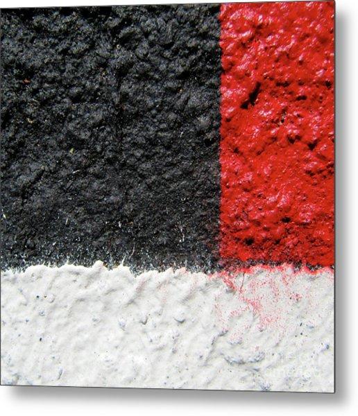 White Versus Black Over Red Metal Print