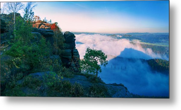 White Wafts Of Mist Around The Lilienstein Metal Print