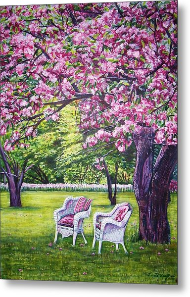 White Whicker Chairs Metal Print by Linda Vaughon