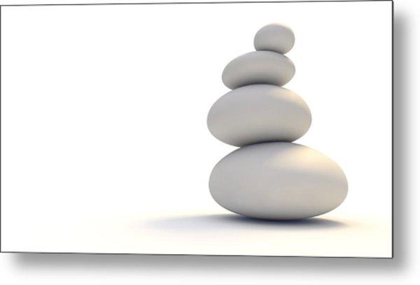 White Zen Stones Metal Print