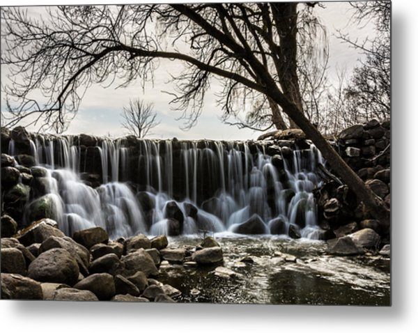 Whitnall Waterfall In Spring Metal Print