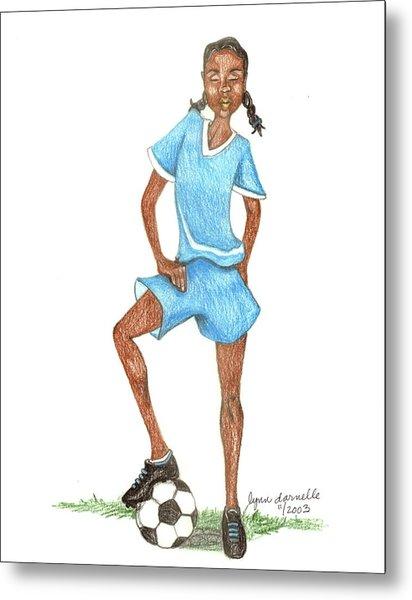 Who Says Black Girls Don't Play Soccer Metal Print by Lynn Darnelle