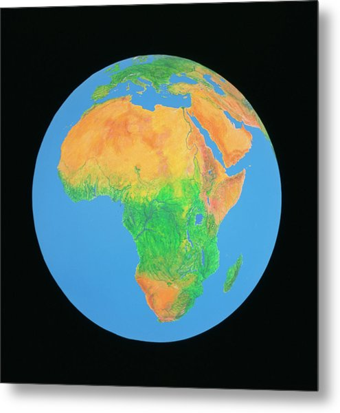 Whole Earth Centred On Africa Metal Print