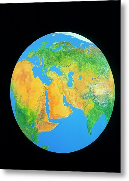 Whole Earth Centred On The Middle East Metal Print