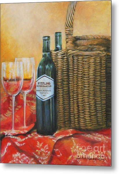 Wicker And Wine Metal Print
