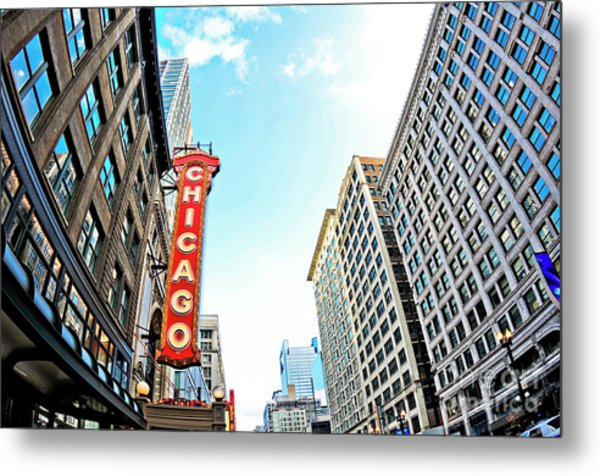 Wide Angle Photo Of The Chicago Theatre Marquee And Buildings  Metal Print