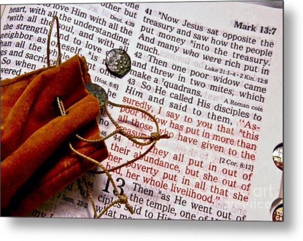 Widow's Mites And Scripture Metal Print