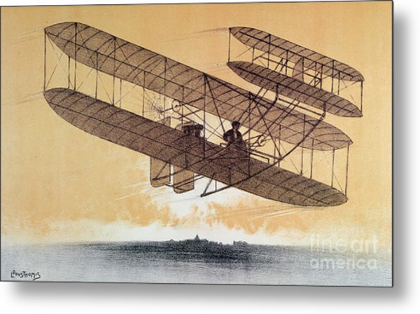 Wilbur Wright In His Flyer Metal Print
