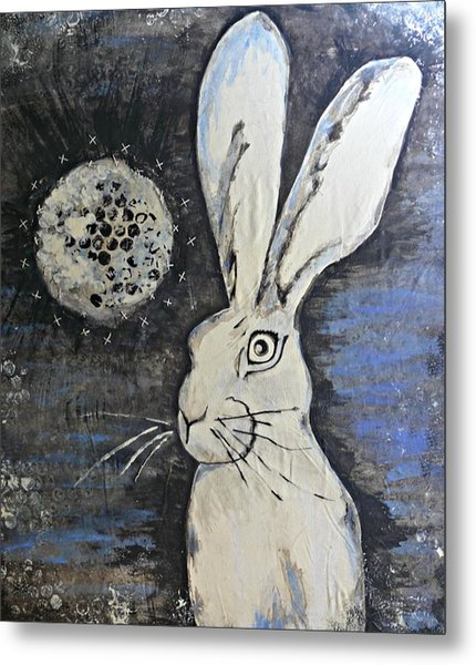 Wild Eyed Hare Metal Print by Laura Heilman
