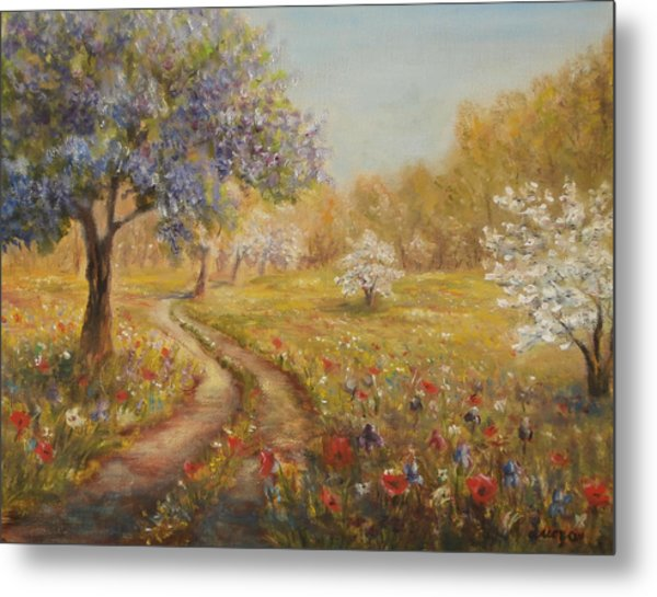 Metal Print featuring the painting Wild Garden Path by Katalin Luczay